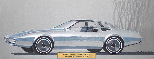1974 Duster  Plymouth Vintage Styling Design Concept Sketch  Print by John Samsen