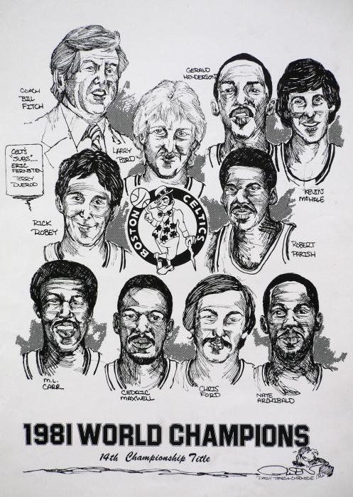 1981 Boston Celtics Championship Newspaper Poster Print by Dave Olsen