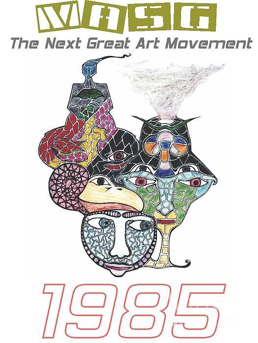 1985 Masg Art By Upside Down Artist L R Emerson II Print by L R Emerson II