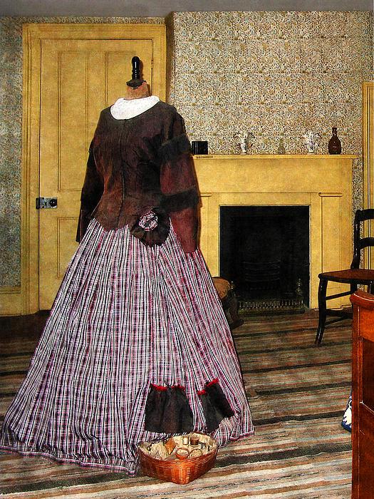 19th Century Plaid Dress Print by Susan Savad