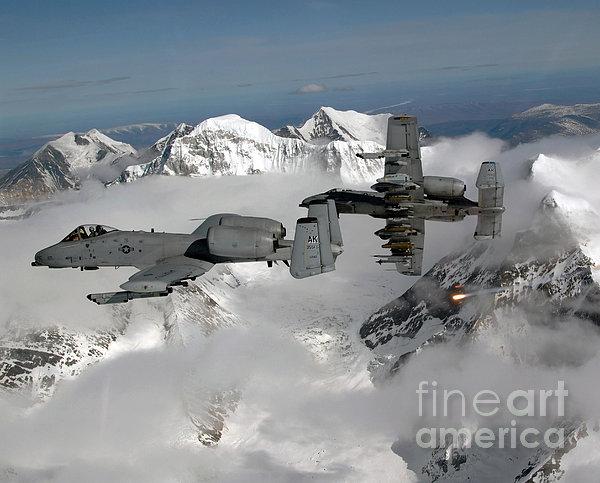 A-10 Thunderbolt IIs Fly Print by Stocktrek Images