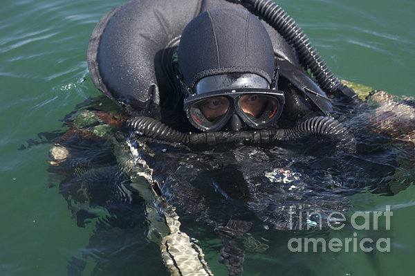 A Navy Seal Combat Swimmer Print by Michael Wood