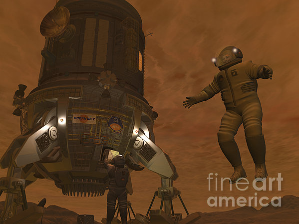 Artists Concept Of Astronauts Exploring Print by Walter Myers