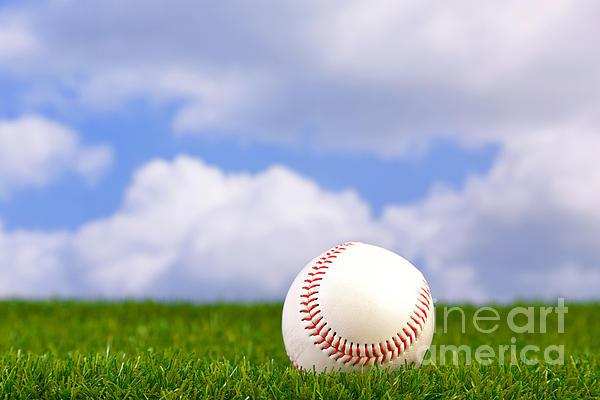 Baseball On Grass Print by Richard Thomas