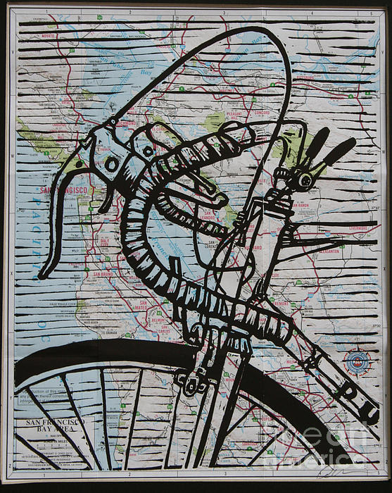 Bike 2 On Map Print by William Cauthern