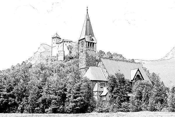 Burg Gutenberg And Church Balzers Liechtenstein Print by Joseph Hendrix