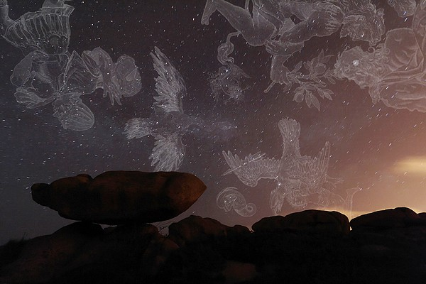 Constellations In A Night Sky Print by Laurent Laveder