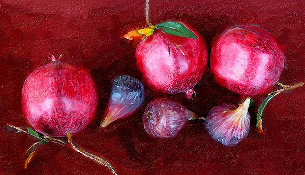 Figs And Pomegranates Print by Ron Regalado
