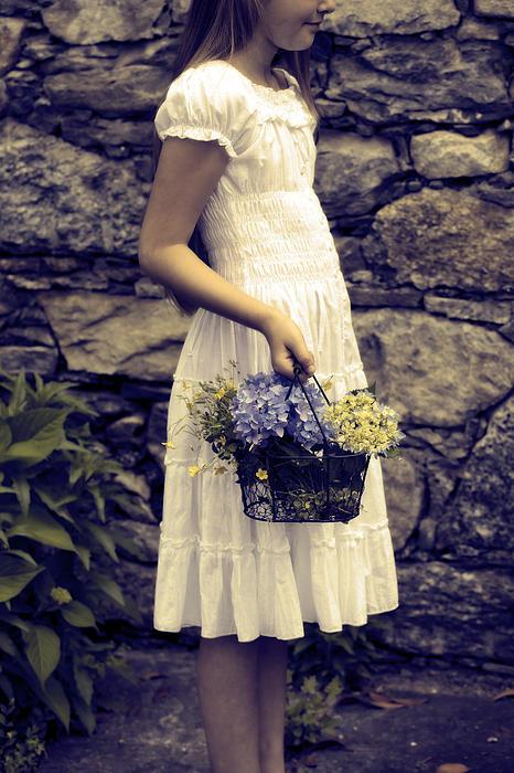 Girl With Flowers Print by Joana Kruse