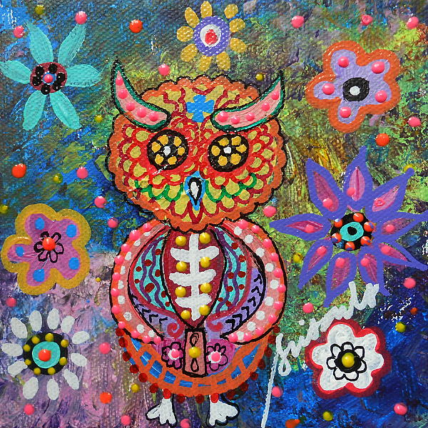 Owl Day Of The Dead Print by Pristine Cartera Turkus
