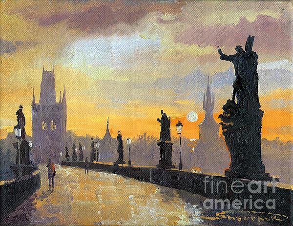 Prague Charles Bridge 01 Print by Yuriy  Shevchuk
