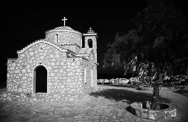 Prophet Elias Church Profitis Ayios Elias With Prayer Rag Trees Hilltop Protaras Republic Of Cyprus Print by Joe Fox