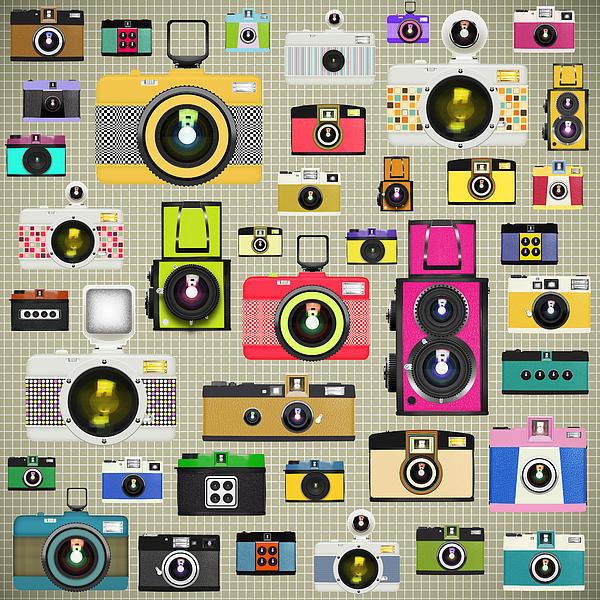 Retro Camera Pattern Print by Setsiri Silapasuwanchai