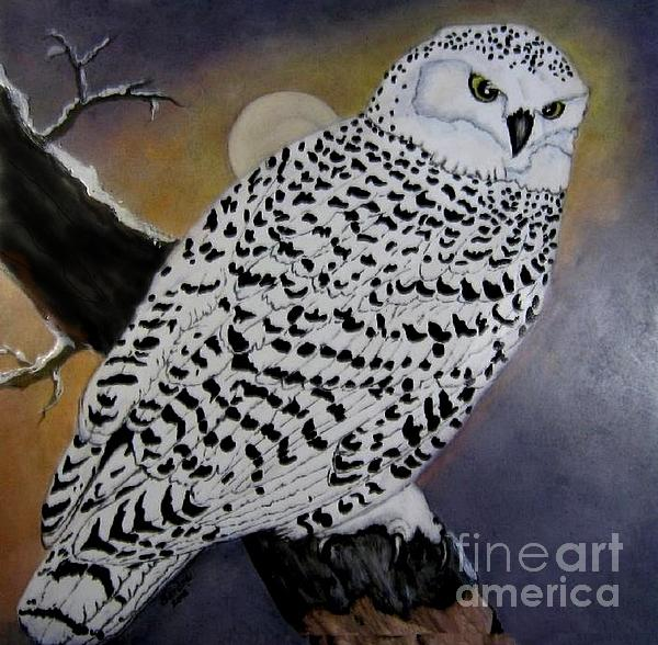 Snowy Owl And Moon Print by Sandra Maddox