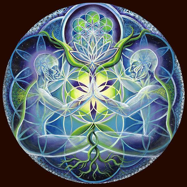The Flowering Of Divine Unification Print by Morgan  Mandala Manley