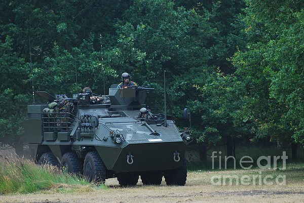 The Pandur Recce Vehicle In Use Print by Luc De Jaeger