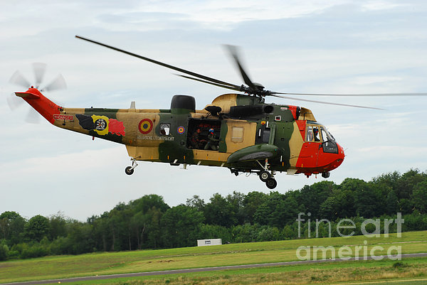 The Sea King Helicopter Of The Belgian Print by Luc De Jaeger