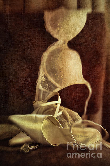 Wedding Shoes And Under Garments On Chair Print by Sandra Cunningham