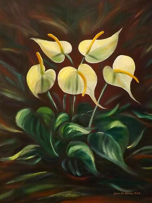 White Flowers Print by Gina De Gorna