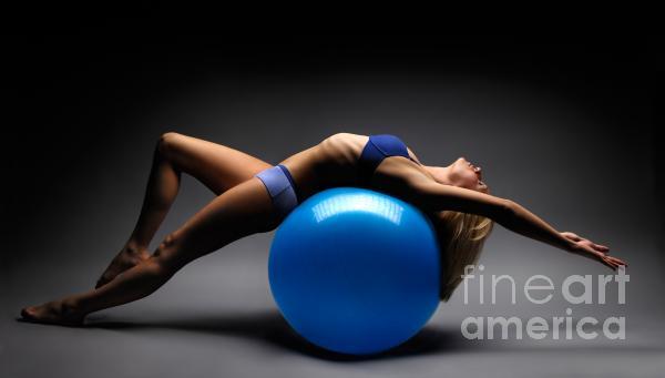 Woman On A Ball Print by Oleksiy Maksymenko