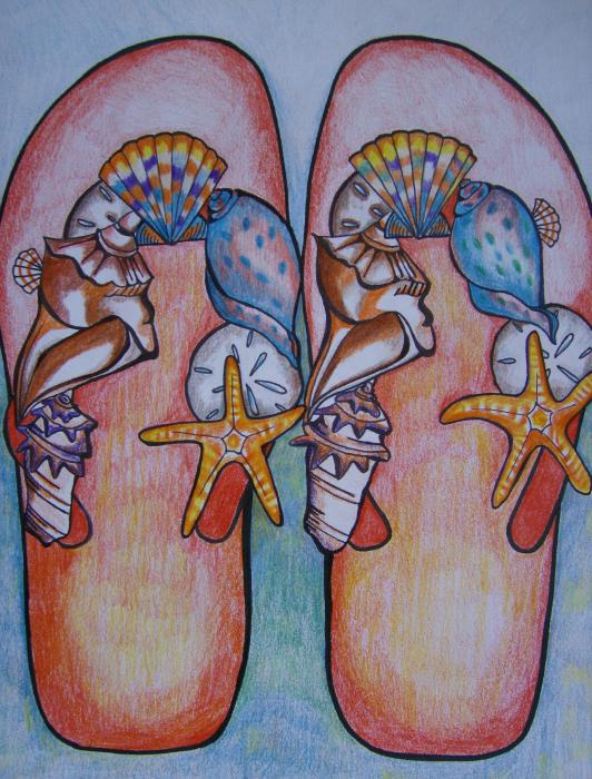 Beach Shoes Drawing  - Beach Shoes Fine Art Print