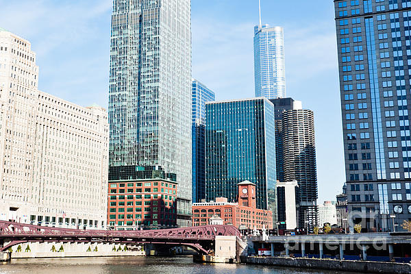 Chicago River Skyline Print by Paul Velgos