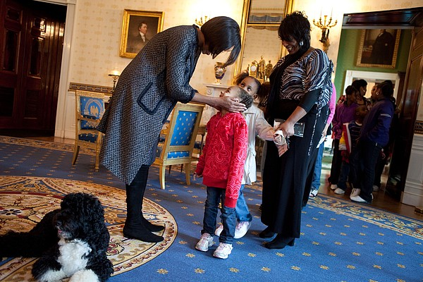First Lady Michelle Obama Greets Print by Everett