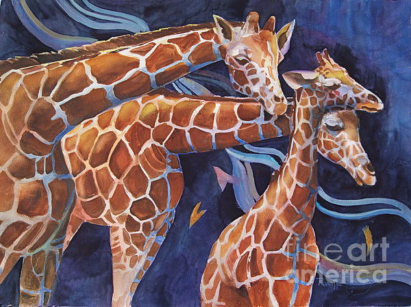 3 Giraffes      Heads Up Print by Reveille Kennedy