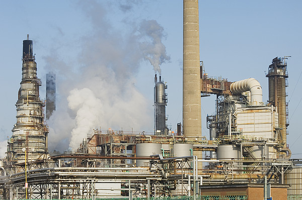 Oil Refinery Buildings At Grangemouth Print by Iain  Sarjeant