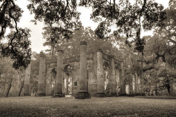 Old Sheldon Church Ruins Print by Dustin K Ryan