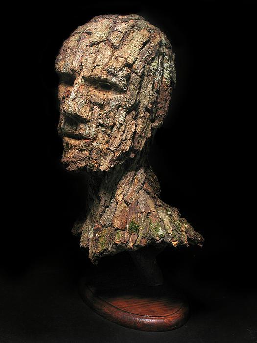 Revered  A Natural Portrait Bust Sculpture By Adam Long Print by Adam Long