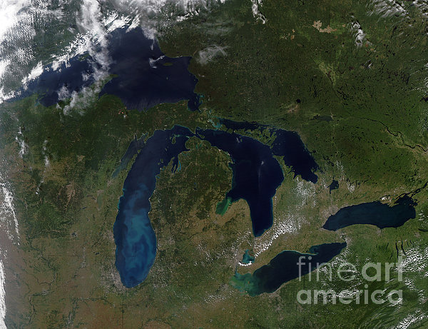 Satellite View Of The Great Lakes Print by Stocktrek Images