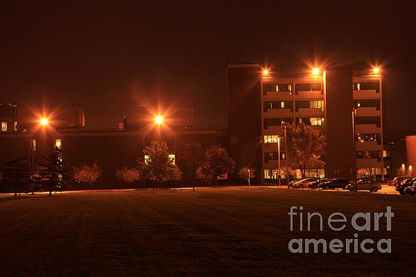 sodium vapor lights on college campus print by ted kinsman. Black Bedroom Furniture Sets. Home Design Ideas