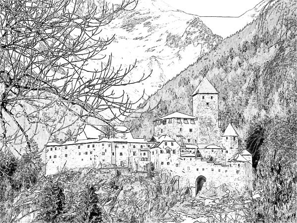 Taufers Knights Castle Valle Aurina Italy Print by Joseph Hendrix