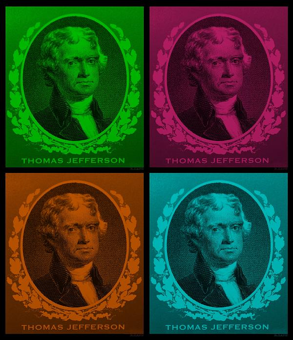 Thomas Jefferson In Quad Colors Print by Rob Hans