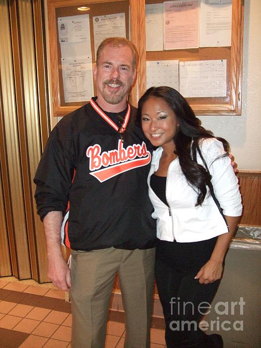 Womans World Champion Wrestler Gail Kim And Myself Print by Jim Fitzpatrick