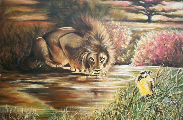 310  Lions Drinking Pond Painting  - 310  Lions Drinking Pond Fine Art Print