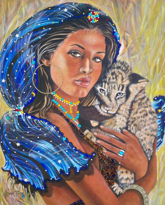 339 Girl with Lion Cub Painting  - 339 Girl with Lion Cub Fine Art Print