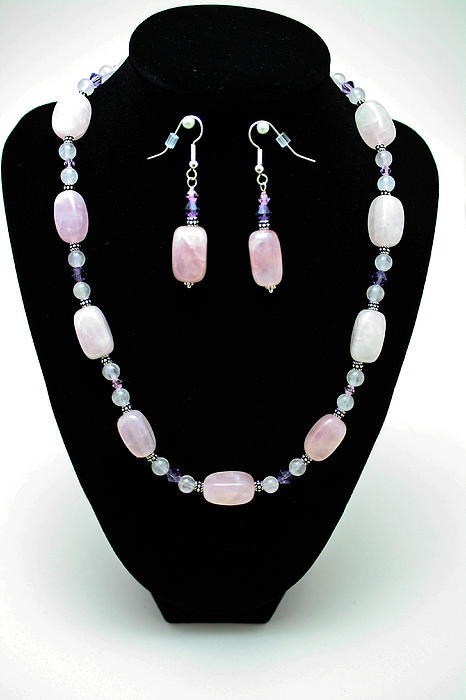 3560 Rose Quartz Necklace And Earrings Set Print by Teresa Mucha