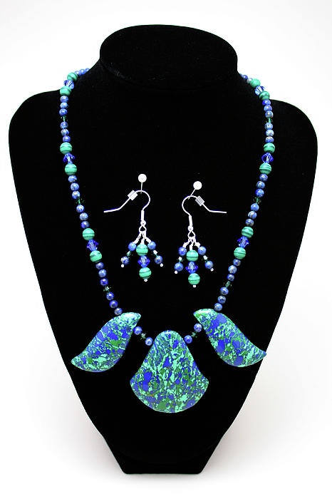 3582 Lapis Lazuli Malachite Necklace And Earring Set Print by Teresa Mucha
