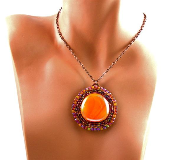 3fine Design Mayan Sunset Beaded Cabochon Jewelry
