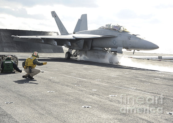 An Fa-18f Super Hornet Launches Print by Stocktrek Images