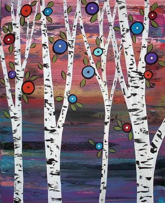 4 Birches Print by Karla Gerard