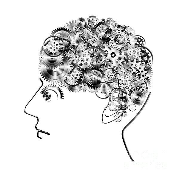 Brain Design By Cogs And Gears Print by Setsiri Silapasuwanchai