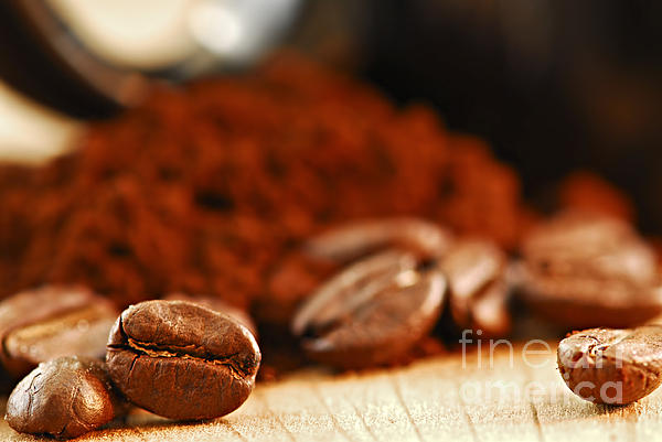 Coffee Beans And Ground Coffee Print by Elena Elisseeva