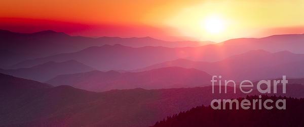 Great Smokie Mountains Sunset Print by Dustin K Ryan