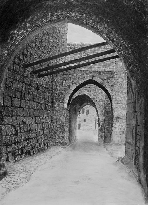 Jerusalem Old Street Print by Marwan Hasna - Art Beat