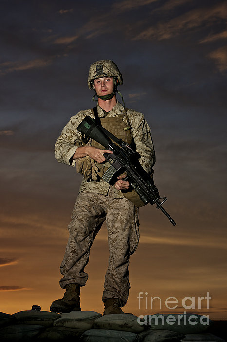 Portrait Of A U.s. Marine In Uniform Print by Terry Moore
