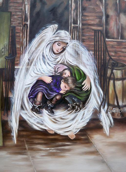 408 Angel and the Orphans Painting  - 408 Angel and the Orphans Fine Art Print