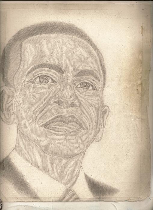 44th President Barack Obama By Artist Fontella Moneet Farrar Print by Fontella Farrar